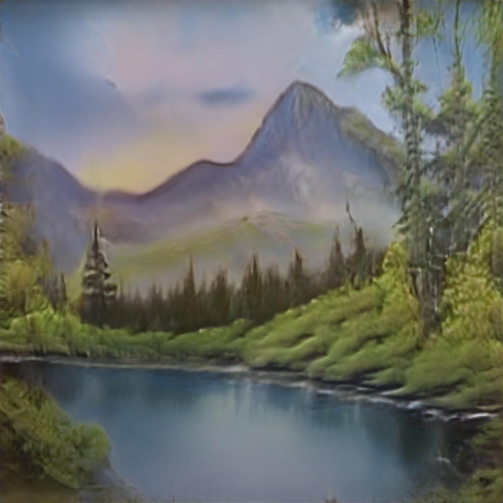 A landscape painting tranquil lake as the sun sets behind purple mountains. Bob Ross inspired paintings made by AI.